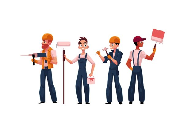 Team of construction workers, build…