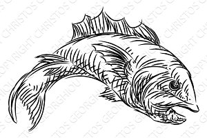 Fish Food Grunge Style Hand Drawn Icon