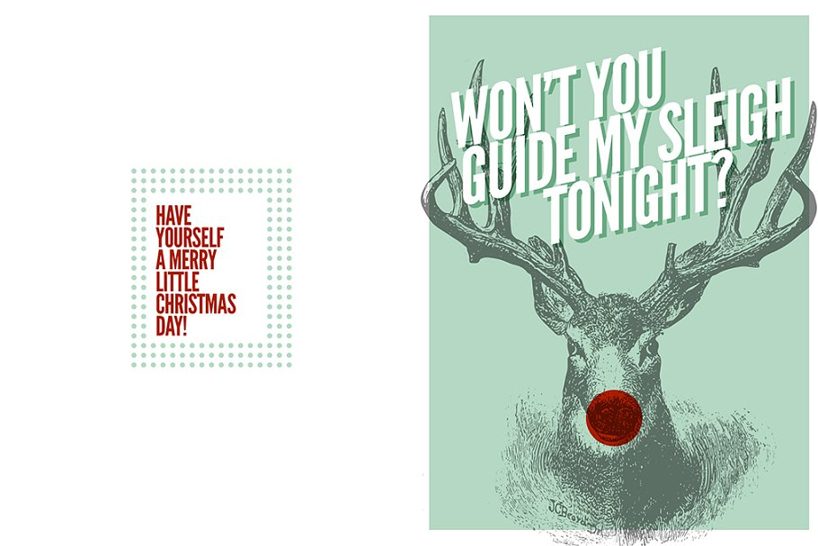 712b232241812 Rudolf Christmas Card ~ Card Templates ~ Creative Market