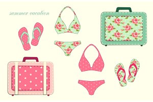 Cute vintage swimsuits and flip-flops