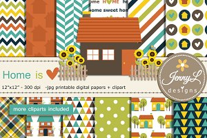 House Digital Papers & Clipart