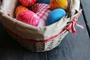 Easter eggs in basket. Traditional decoration