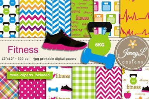 Fitness Exercise Digital Papers Clip