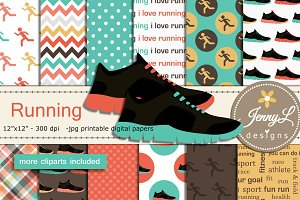 Running Digital Papers & Clipart