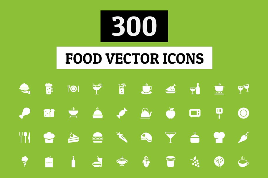 300 Food Vector Icons