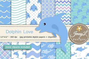 Dolphin Digital Paper & Clipart