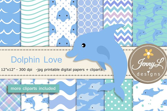 Dolphin Digital Paper Clipart