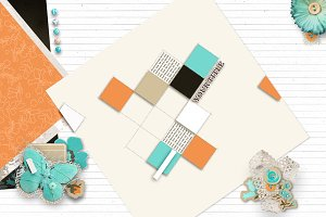 Teal & Orange Scrapbooking Mock Up