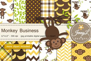 Monkey Digital Papers & Clipart