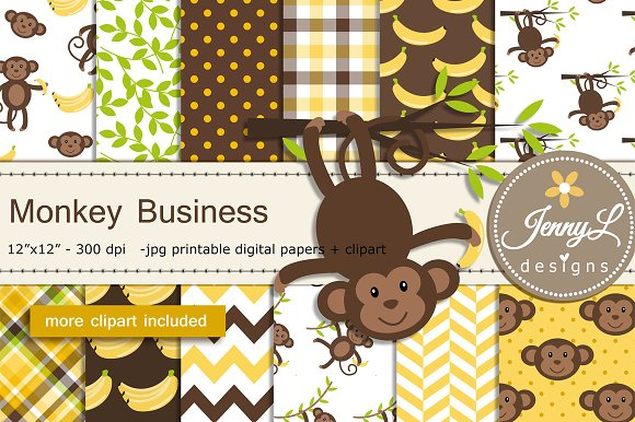 Monkey Digital Papers Clipart