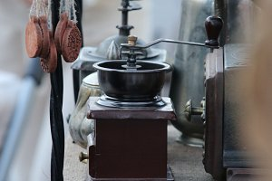 Mechanical coffee grinder. Soft focus.