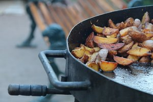 Fried potato. Street food.