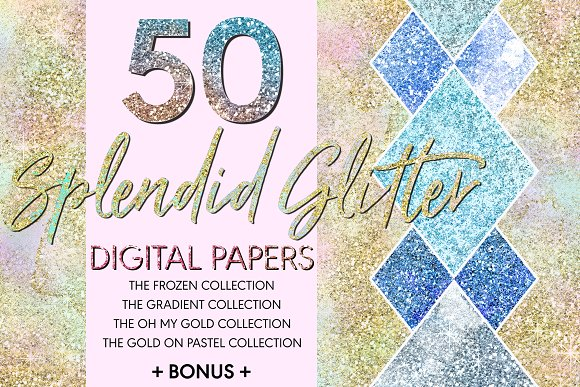 50 Splendid Glitter Digital Papers