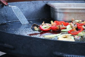 fried vegetables in frying pan