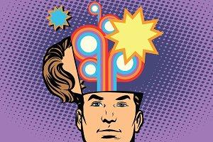 Man with an open head festival fireworks carnival celebration