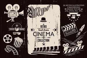 Cinema Hand-drawn Retro Clip-art