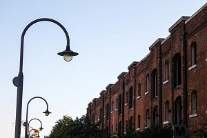 Lamppost and Brick Building