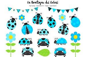 Blue Ladybug Clip Art