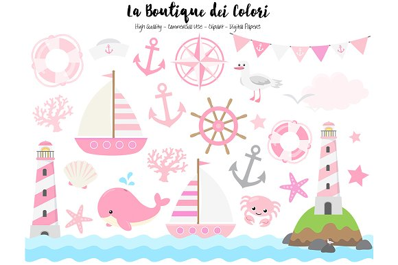 Pink Nautical Vector Clip Art