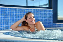 woman in a jacuzzi
