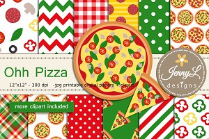 Pizza Digital Papers & Clipart