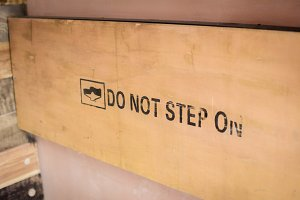 Warning Symbol on Wood
