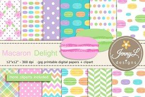 Macaron Digital Paper & Clipart