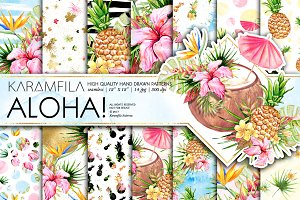 Aloha Patterns Tropical Summer Paper