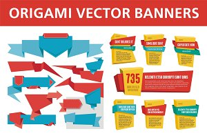 Origami Vector Banners & Labels