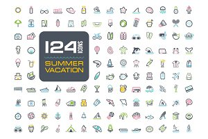 Summer icon set. Summertime. Vacation