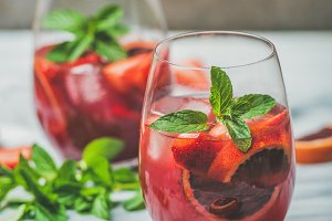 Blood orange and strawberry Sangria