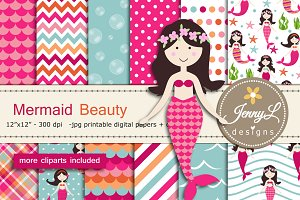 Mermaid Digital Paper & Clipart