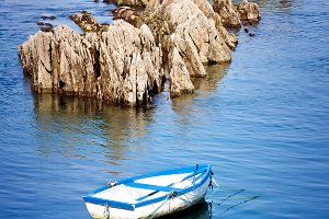 boat and rocks