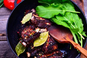 Cooked in spices pork ribs