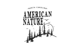 Vector typography logo with forest.