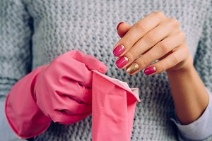 Pink rubber gloves for cleaning