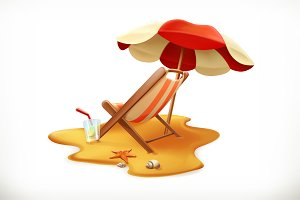 Beach umbrella, lounge chair, vector
