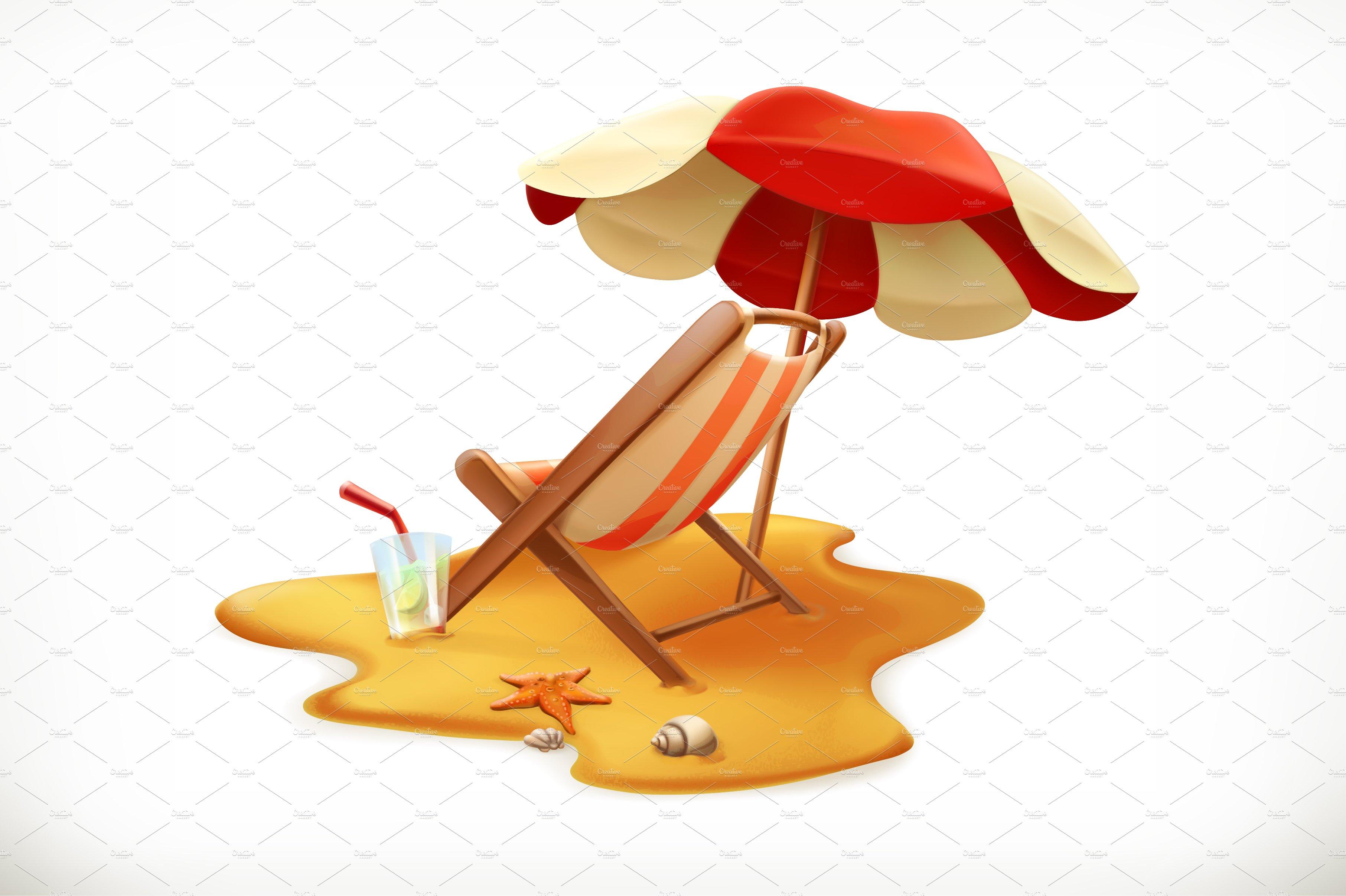 Beach Umbrella Lounge Chair Vector Icons Creative Market