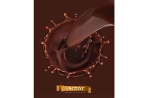 Chocolate flow and splash, vector