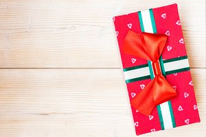 Gift box on the wooden floor