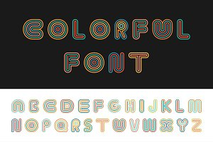 Colorful striped funny font.