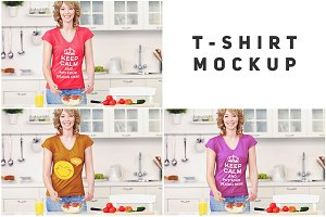 Woman in Kitchen T-shirt Mock-up#11