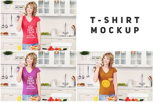 Woman in Kitchen T-shirt Mock-up#12