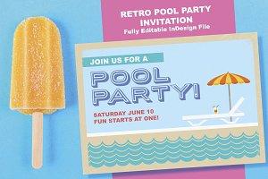 Retro Summertime Pool Party Invite