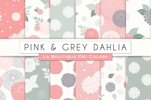 Pink and Gray Dahlia Digital Paper