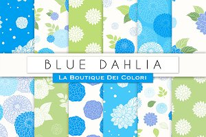 Blue Dahlia Seamless Digital Paper