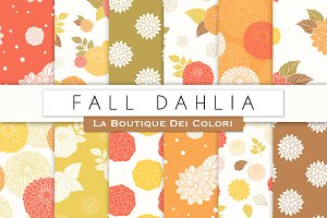 Fall Dahlia Seamless Digital Paper