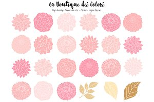 Pink and Gold Dahlia Vector Clipart