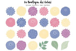 Purple and Yellow Flowers Clipart