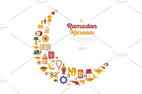 Ramadan Kareem Moon With Flat Arabic Icons Illustrations Creative Market
